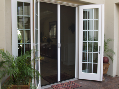 Retractable screen doors casper disappearing for Screen doors for french doors