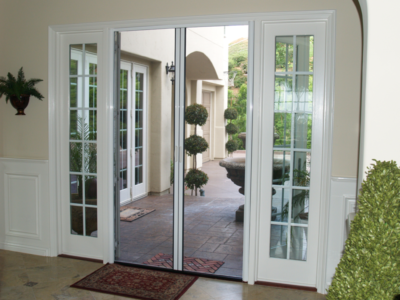 Retractable screen doors casper disappearing for Retractable screen door for double french doors
