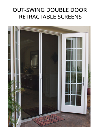 Casper Disappearing Screens out-swing double door retractable screens