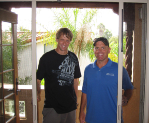 professional skateboarder Tony Hawk and Casper Screens owner Kevin Boyd